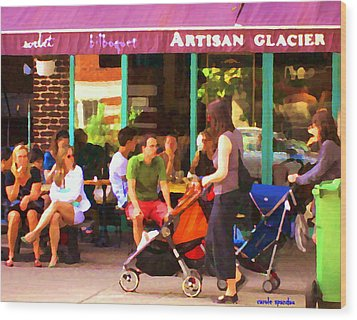 Montreal Art Work Bilboquet Cafe Scene Moms And Baby Carriages  In  Outremont By Carole Spandau Wood Print by Carole Spandau