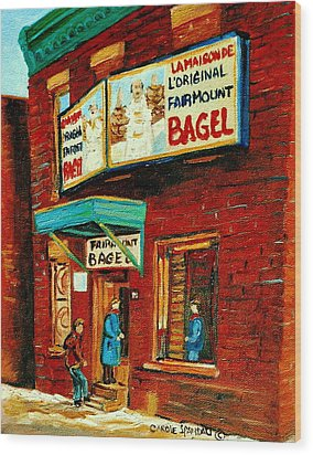 Montreal Bagel Factory Famous Brick Building On Fairmount Street Vintage Paintings Of Montreal  Wood Print by Carole Spandau