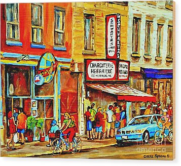 Montreal Bike Path Reserved Lane Cyclists Drive By Schwartzs Deli  Line-up Montreal Paintings Wood Print by Carole Spandau
