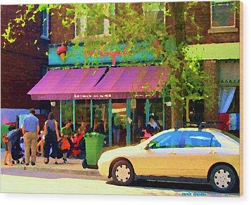 Montreal Cafe Scenes Beautiful Bilboquet On Bernard Creme Glacee Summer City Scene Carole Spandau  Wood Print by Carole Spandau