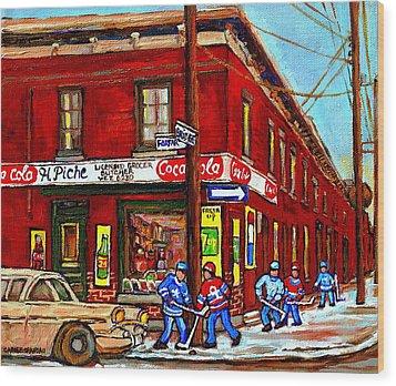 Montreal Depanneur Epicerie Boucherie Coca Cola South West Montreal Winter Pantings Hockey Art  Wood Print by Carole Spandau