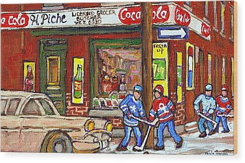 Montreal Hockey Paintings At The Corner Depanneur - Piche's Grocery Goosevillage Psc Griffintown  Wood Print by Carole Spandau