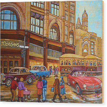 Montreal Memories-streetcars-morgan's Department Store At St.catherine And Union Wood Print by Carole Spandau