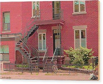 Montreal Memories The Old Neighborhood Timeless Triplex With Spiral Staircase City Scene C Spandau  Wood Print by Carole Spandau