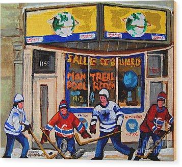 Montreal Pool Room City Scene With Hockey Wood Print by Carole Spandau