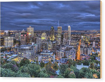 Wood Print featuring the photograph Montreal Skyline At Dusk by Shawn Everhart