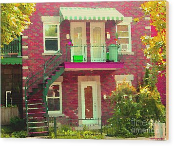 Montreal Stairs Painted Brick House Winding Staircase And Summer Awning City Scenes Carole Spandau Wood Print by Carole Spandau