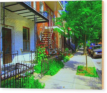 Montreal Stairs Shady Streets Winding Staircases In Balconville Art Of Verdun Scenes Carole Spandau Wood Print by Carole Spandau