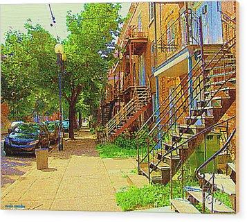 Montreal Stairs Winding Staircases And Sunny Tree Lined Sidewalks Verdun Scenes Carole Spandau  Wood Print by Carole Spandau