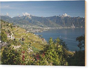 Montreux On Lake Geneva Wood Print by Rob Hemphill