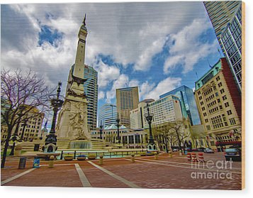 Monument Circle Indianapolis Wide Wood Print by David Haskett