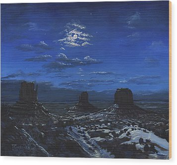 Monument Valley By Moon Light Wood Print