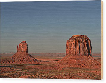 Monument Valley - East Mitten And Merrick Butte Wood Print by Christine Till