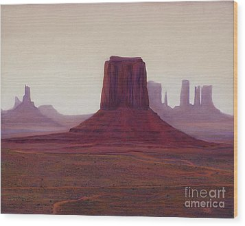 Monument Valley- Haze Wood Print by Xenia Sease