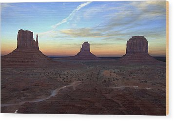 Monument Valley Just After Sunset Wood Print by Mike McGlothlen