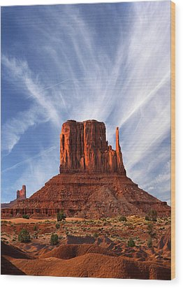 Monument Valley - Left Mitten 2 Wood Print by Mike McGlothlen