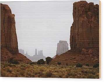 Monument Valley Mist Wood Print