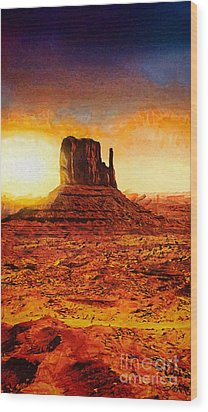Monument Valley Wood Print by Mo T