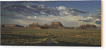 Monument Valley Panorama Wood Print by Steve Gadomski