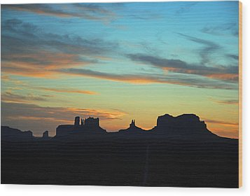 Monument Valley Sunset 4  Wood Print by Jeff Brunton