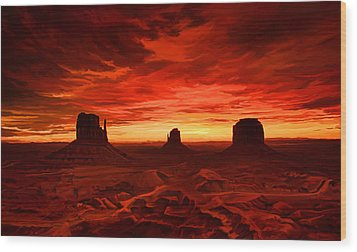 Wood Print featuring the painting Monument Valley Sunset by Tim Gilliland