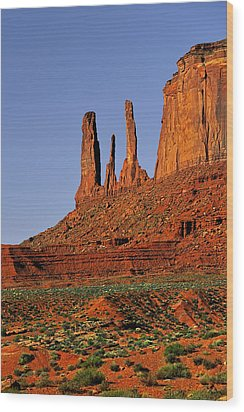 Monument Valley - The Three Sisters Wood Print by Christine Till