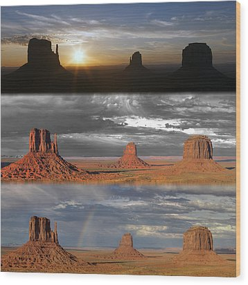 Monument Valley Triptych Wood Print by Patrick Jacquet