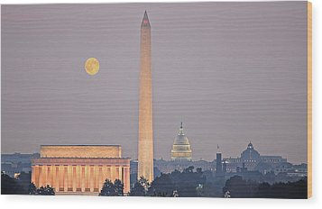 Wood Print featuring the photograph Monuments In Moonlight by Michael Donahue
