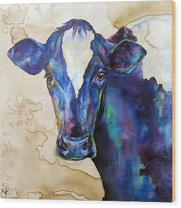Wood Print featuring the painting Moo by Christy  Freeman