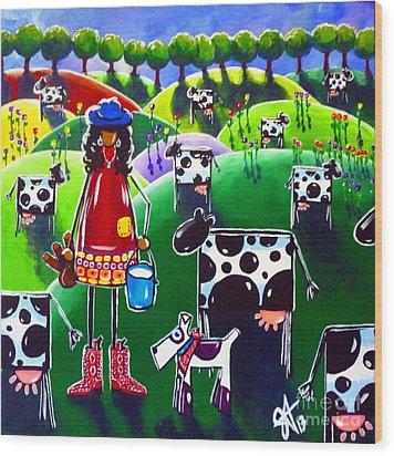 Moo Cow Farm Wood Print by Jackie Carpenter