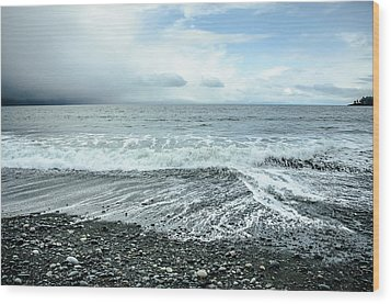 Moody Waves French Beach Wood Print