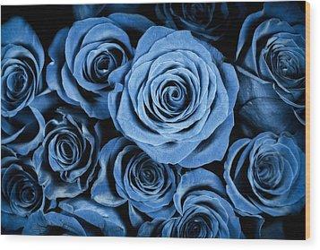Moody Blue Rose Bouquet Wood Print by Adam Romanowicz