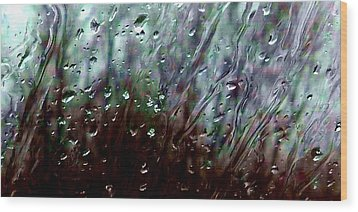 Wood Print featuring the photograph Moody Blues Rain On The Window Series 2 Abstract Photo by Marianne Dow