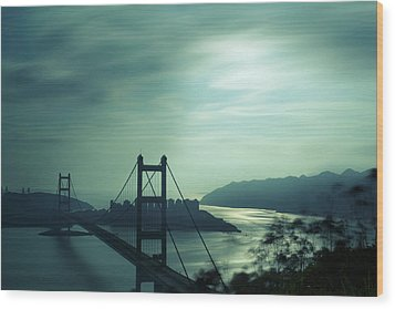Wood Print featuring the photograph Moody Bridge by Afrison Ma