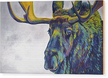 Moody Moose Wood Print