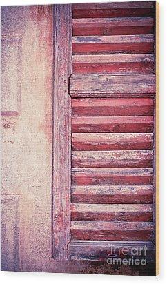 Moody Weathered Shutter Wood Print by Silvia Ganora