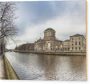 Moody Winter Day On Inns Quay In Dublin Wood Print by Mark E Tisdale