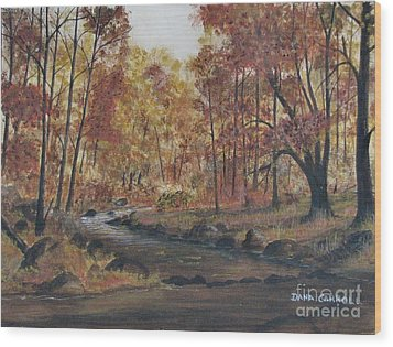 Moody Woods In Fall Wood Print by Dana Carroll