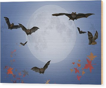 Moon And Bats Wood Print by Melissa A Benson