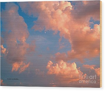 Wood Print featuring the photograph Moon And Clouds by Joan Hartenstein