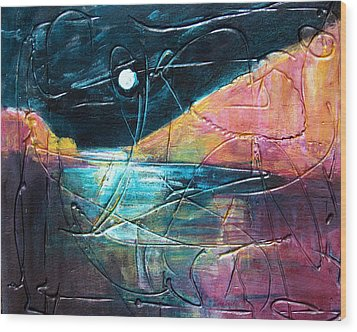 Moon And Lagune Wood Print by Betty Pieper