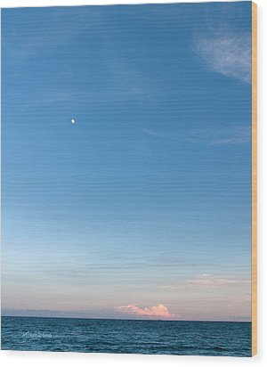Moon And Pink Cloud Wood Print by Michelle Wiarda
