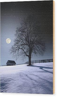 Wood Print featuring the photograph Moon And Snow by Larry Landolfi