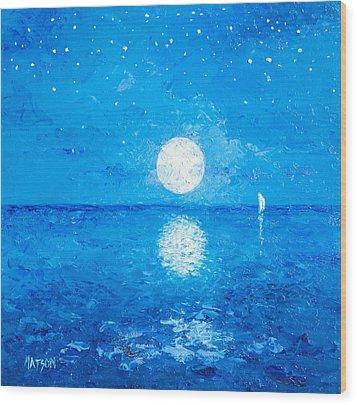 Moon And Stars Wood Print