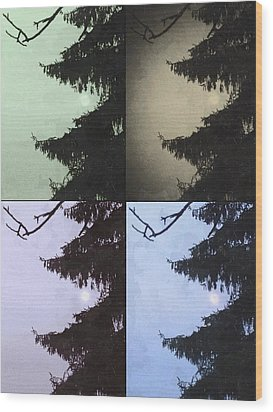 Wood Print featuring the photograph Moon And Tree by Photographic Arts And Design Studio
