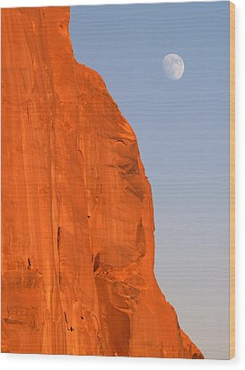 Moon At Monument Valley Wood Print by Jeff Brunton