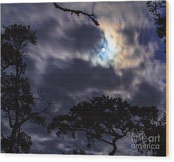 Moon Break Wood Print by Peta Thames