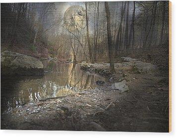 Moon Camp Wood Print by Betsy Knapp
