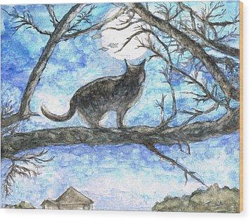 Moon Cat Wood Print