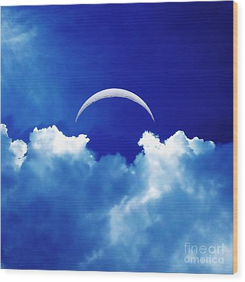 Moon Cloud Wood Print by Joseph J Stevens